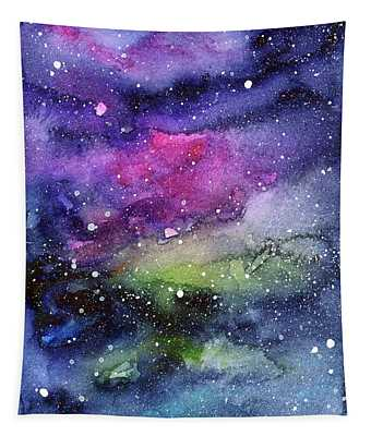 Rainbow Galaxy Watercolor Tapestry