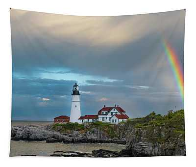 Rainbow Over Portland Head Light Tapestry