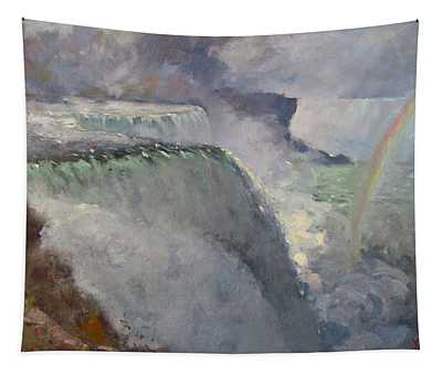 Rainbow Over The Falls Tapestry
