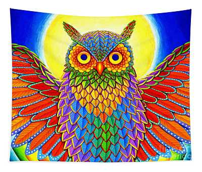Rainbow Owl Tapestry