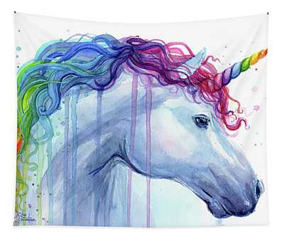 Rainbow Unicorn Watercolor Tapestry
