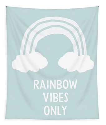Rainbow Vibes Only Blue- Art By Linda Woods Tapestry