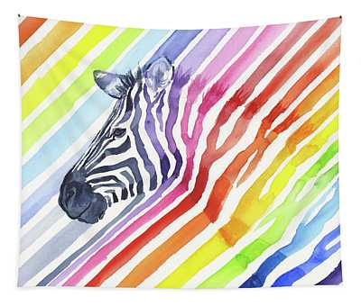 Rainbow Zebra Pattern Tapestry