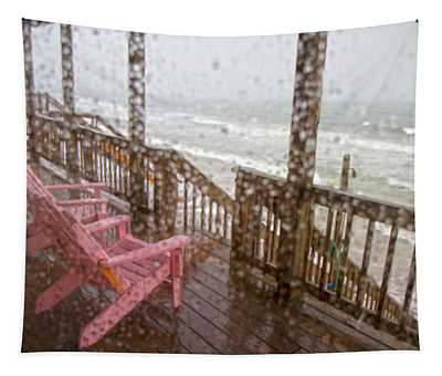 Rainy Beach Evening Tapestry
