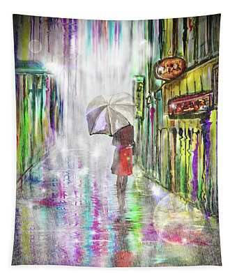 Rainy Paris Day Tapestry