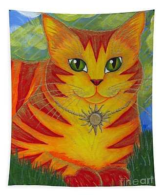 Rajah Golden Sun Cat Tapestry