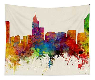 Raleigh North Carolina Skyline Panoramic Tapestry