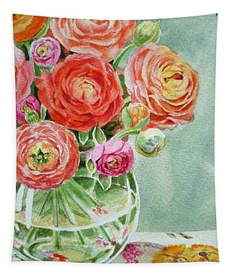 Ranunculus In The Glass Vase Tapestry