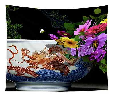 Rare Iron Red Decorative Blue Chinese Dragon Bowl, Floral And Butterfly Tapestry