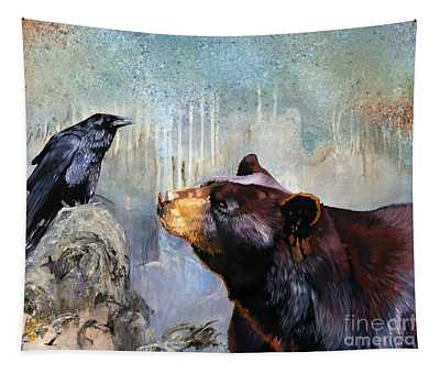 Raven And The Bear Tapestry