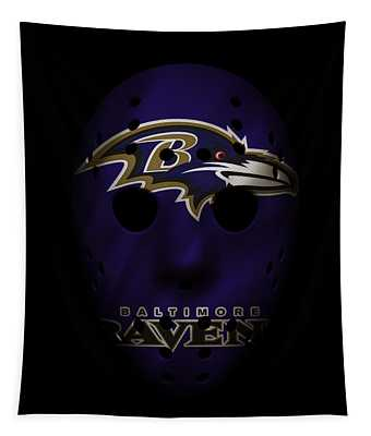 Ravens War Mask Tapestry