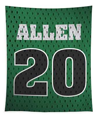 Ray Allen Boston Celtics Retro Vintage Jersey Closeup Graphic Design Tapestry