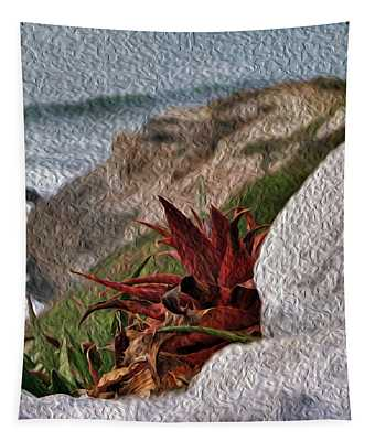 Red Aloe Vera By The Sea Tapestry