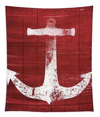 Red And White Anchor- Art By Linda Woods Tapestry
