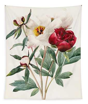 Red And White Herbaceous Peonies Tapestry
