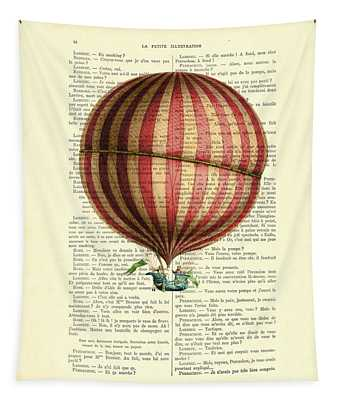 Red And White Striped Hot Air Balloon Antique Photo Tapestry