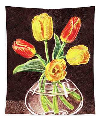 Red And Yellow Tulips Bouquet Tapestry