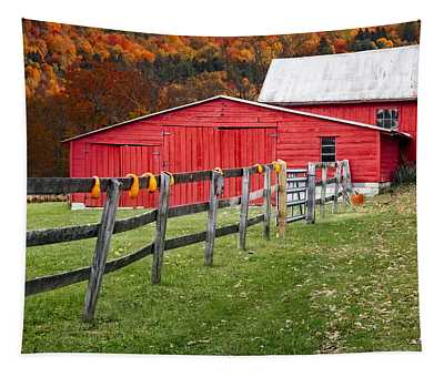 Red Barn In Autumn - Tapestry