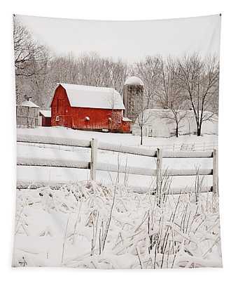 Red Barn In Winter Tapestry