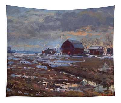 Red Barns In The Farm Tapestry