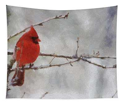 Red Bird Of Winter Tapestry