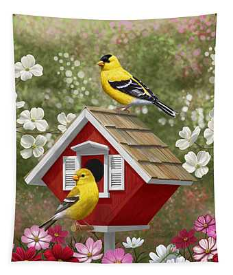 Red Birdhouse And Goldfinches Tapestry