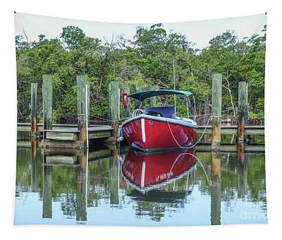 Red Boat Docked Florida Tapestry