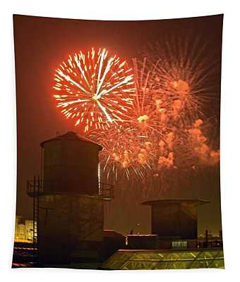 Red Fireworks Tapestry