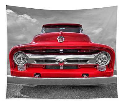 Red Ford F-100 Head On Tapestry