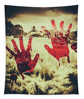 Red Handprints On Glass Of Windows Tapestry
