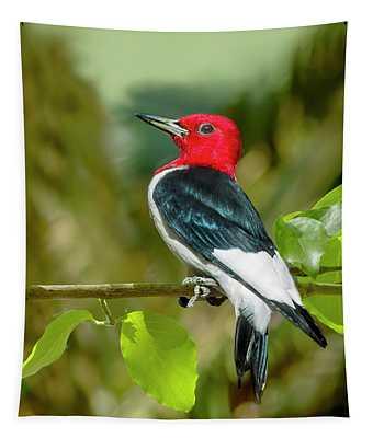 Red-headed Woodpecker Portrait Tapestry
