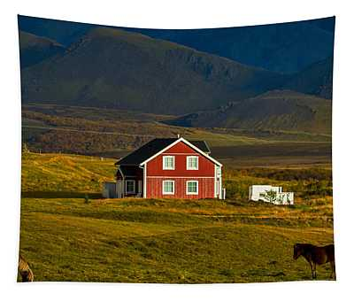 Red House And Horses - Iceland Tapestry