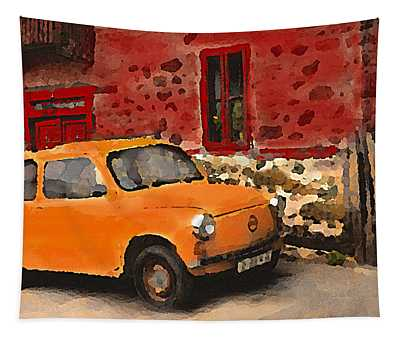 Red House With Orange Car Tapestry