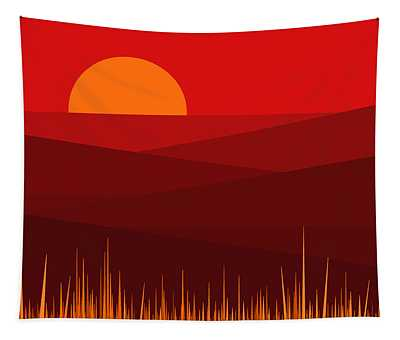 Red Landscape Tapestry