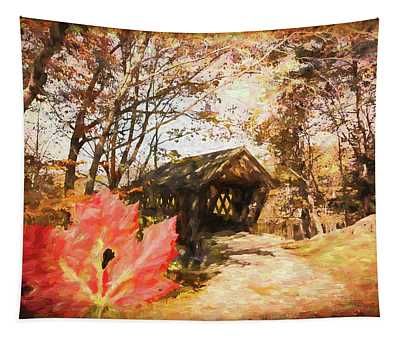 Red Leaves A Covered Bridge Tapestry