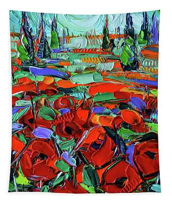 Red Of Tuscany - Impressionism Poppies Impasto Oil Painting Tapestry