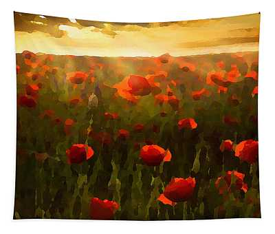 Tapestry featuring the digital art Red Poppies In The Sun by Shelli Fitzpatrick