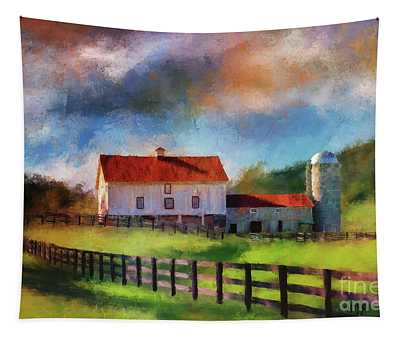Red Roof Barn Tapestry