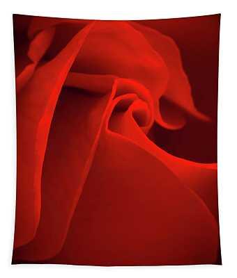 Red Rose Macro Tapestry