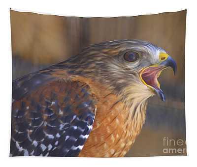 Red Shoulder Hawk Tapestry