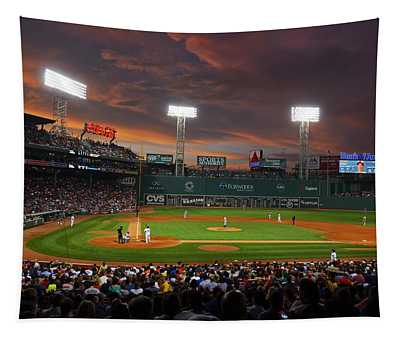 Red Sky Over Fenway Park Tapestry