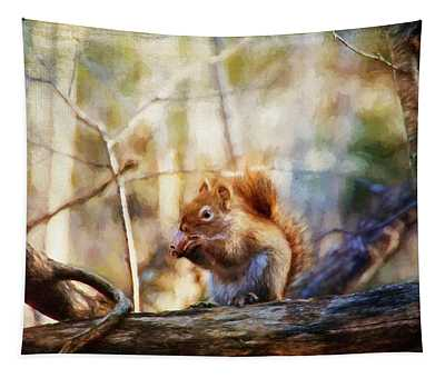 Red Squirrel With Pinecone Tapestry