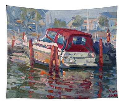 Red Top Boat Tapestry
