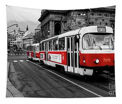 Tapestry featuring the photograph Prague - Red Tram by Miles Whittingham
