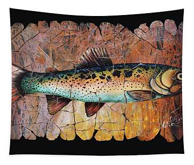 Red Trout Fresco Tapestry