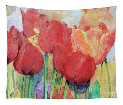 Watercolor Of Blooming Red Tulips In Spring Tapestry