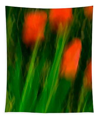 Red Tulips Tapestry