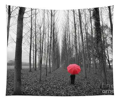 Red Umbrella In An Allee Tapestry