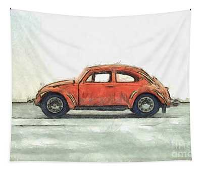 Red Vw Beetle Bug Pencil Tapestry