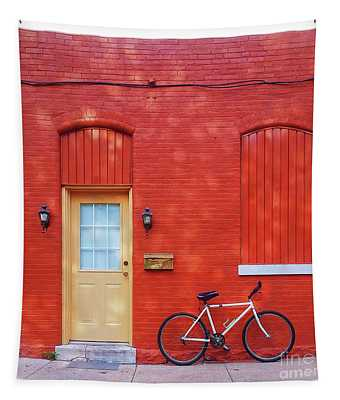Red Wall White Bike Tapestry